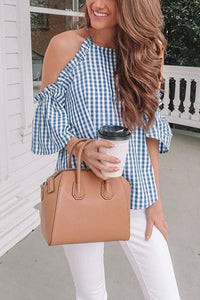 Crew Neck Open Shoulder  Gingham  Bell Sleeve  Blouses
