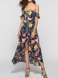 Strapless  Asymmetric Hem  Printed Maxi Dress