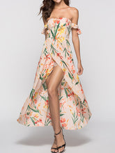 Load image into Gallery viewer, Strapless  Asymmetric Hem  Printed Maxi Dress