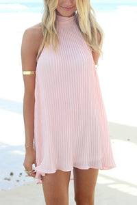 Pink Fashion Halter Neck Sleeveless Casual Dress