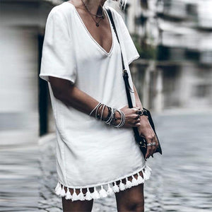 White V-Neck Casual Dresses