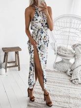 Load image into Gallery viewer, Round Neck  Belt  Printed Maxi Dress