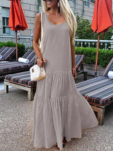 Load image into Gallery viewer, Round Neck  Plain Maxi Dress
