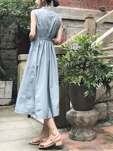 Simple V Collar Vintage Defined Waist Slim Fit Maxi  Dress