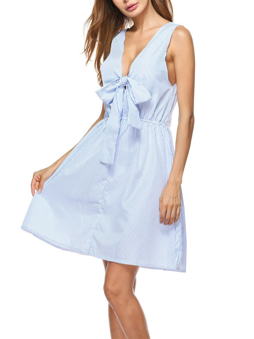 Sexy V Collar Bow Skater Dress