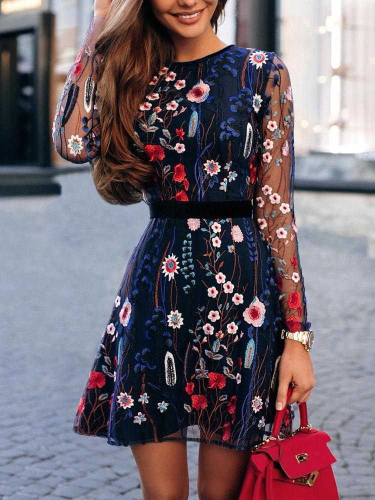 Floral Embroidery Casual Skater Dress