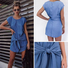 Load image into Gallery viewer, Fashion Round Collar Pure Color Casual Dress