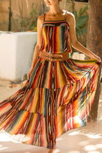 Load image into Gallery viewer, Stylish Sleeveless Stripe Rainbow Maxi Dress