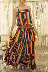 Stylish Sleeveless Stripe Rainbow Maxi Dress