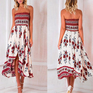 Sexy Off Shoulder Elastic Strapless Irregular Printing Maxi Dresses