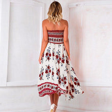 Load image into Gallery viewer, Sexy Off Shoulder Elastic Strapless Irregular Printing Maxi Dresses
