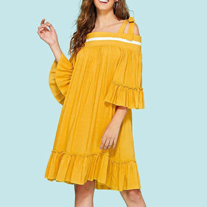 Random Short Sleeves Off Shoulder Casual Dress
