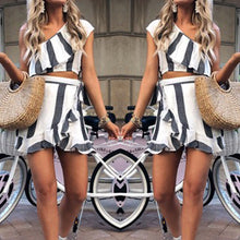 Load image into Gallery viewer, Fashion Oblique Shoulder Two-Piece Suit Casual Dress