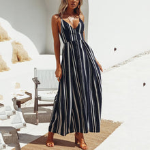 Load image into Gallery viewer, Sexy Elegant Backless Stripe Maxi Dress