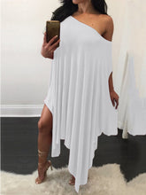 Load image into Gallery viewer, One Shoulder  Asymmetric Hem  Plain Shift Dress