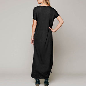 Fashion Simple With Button Maxi Dress