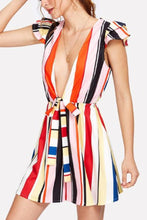 Load image into Gallery viewer, Deep V Neck  Belt  Stripes  Sleeveless  Playsuits