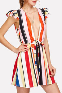 Deep V Neck  Belt  Stripes  Sleeveless  Playsuits
