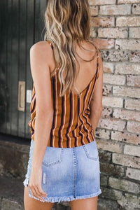 Spaghetti Strap  Backless Decorative Buttons  Vertical Striped Camis