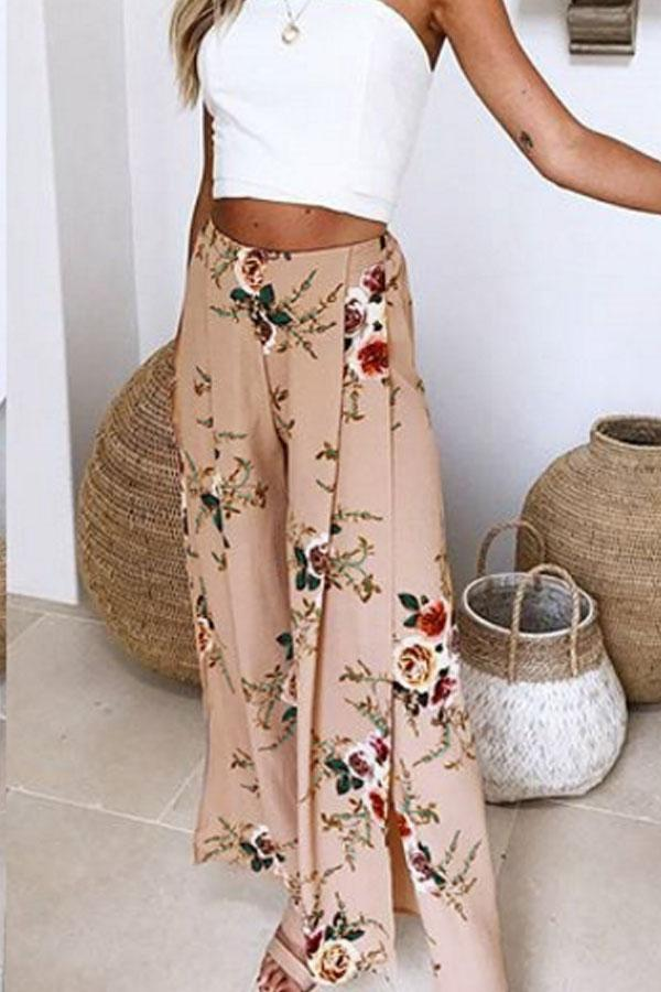 Slit  Floral Printed Pants