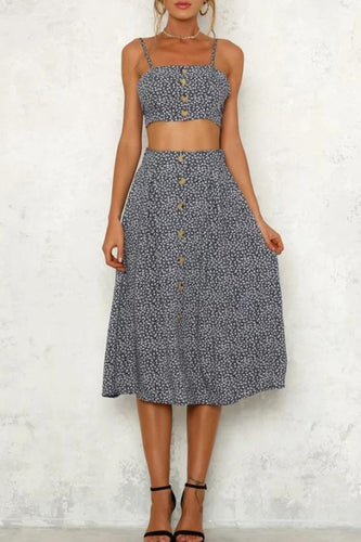 Decorative Buttons  Dot Two-Piece Outfits