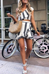 One Shoulder  Backless  Cascading Ruffles  Stripes Two-Piece Outfits