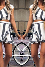 Load image into Gallery viewer, One Shoulder  Backless  Cascading Ruffles  Stripes Two-Piece Outfits