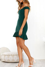 Load image into Gallery viewer, Off Shoulder  Backless  Cascading Ruffles  Plain  Short Sleeve Bodycon Dresses
