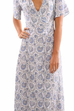 Load image into Gallery viewer, V Neck  Belt  Print  Half Sleeve Maxi Dresses