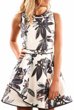 Load image into Gallery viewer, Crew Neck  Belt Loops  Floral  Sleeveless Skater Dresses