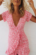 Load image into Gallery viewer, Deep V Neck  Asymmetric Hem  Belt Loops  Print  Short Sleeve Bodycon Dresses