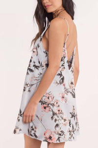 Spaghetti Strap  Backless  Print  Sleeveless Casual Dresses