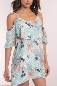Spaghetti Strap  Backless  Floral  Short Sleeve Casual Dresses