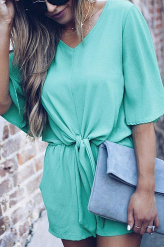 V Neck  Backless  Belt  Plain  Short Sleeve  Playsuits