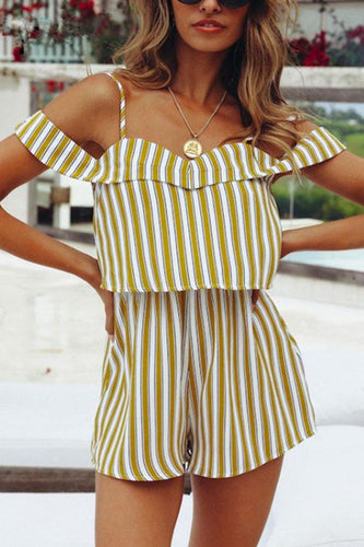Spaghetti Strap  Backless  Striped  Extra Short Sleeve  Playsuits