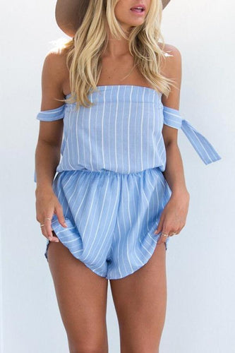 Off Shoulder  Backless  Stripes  Short Sleeve  Playsuits