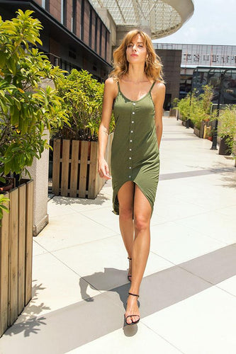 Spaghetti Strap  High Slit Single Breasted  Plain  Sleeveless Maxi Dresses