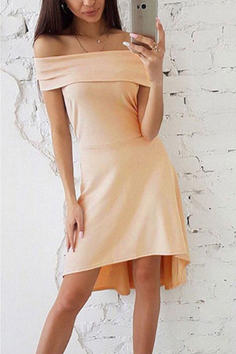 Off Shoulder  Asymmetric Hem  Plain  Short Sleeve Casual Dresses