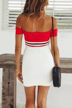 Load image into Gallery viewer, Off Shoulder  Backless  Patchwork  Short Sleeve Bodycon Dresses