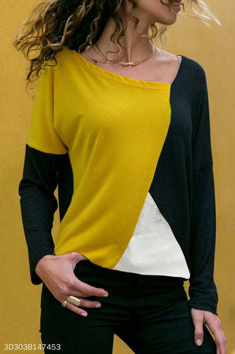 Round Neck  Color Block T-Shirts