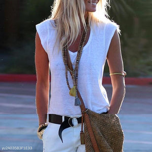 V-Neck Sleeveless Cotton Blouse