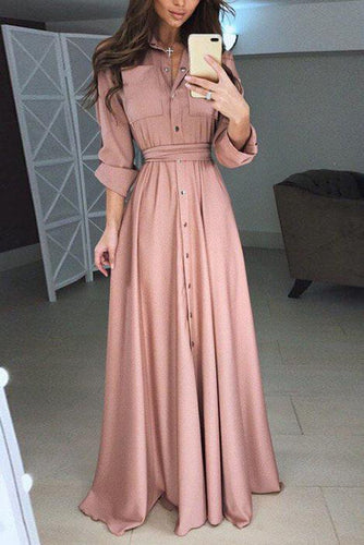 Elegant Casual Vacation Slim Button V Collar Long Sleeve Maxi Dress