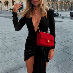 Sexy Deep V Neck Belt Tie Irregular Mini Bodycon Dress