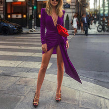 Load image into Gallery viewer, Sexy Deep V Neck Belt Tie Irregular Mini Bodycon Dress