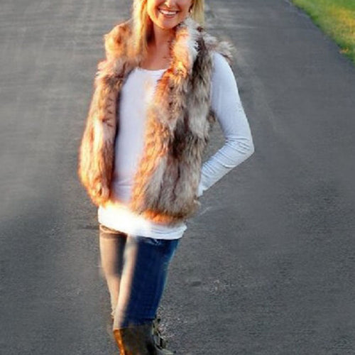 Mixed Color Collar Fur Vest