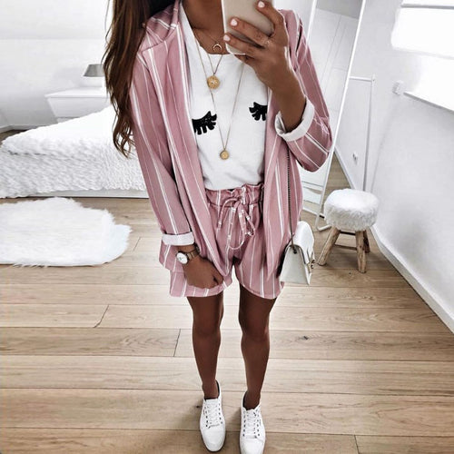 Fashion Lapel Striped Top + Shorts Casual Two-Piece Outfits