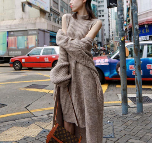 Pure Color Two - Piece Long Knit Coat