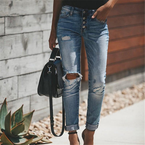 Vintage And Distressed Craft-Cut, High-Waisted Jeans