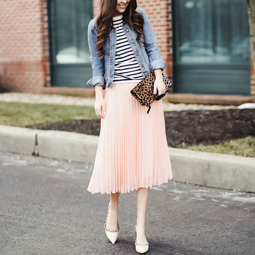 High Waist Long Skirt Pleated Skirt