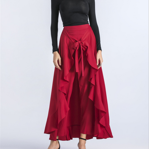 Fashion High-Waist Irregular Ruffled Pantskirt